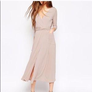 Asos wrap pale pink midi dress.